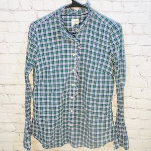Gap The Fitted Boyfriend Shirt Purple Plaid Med